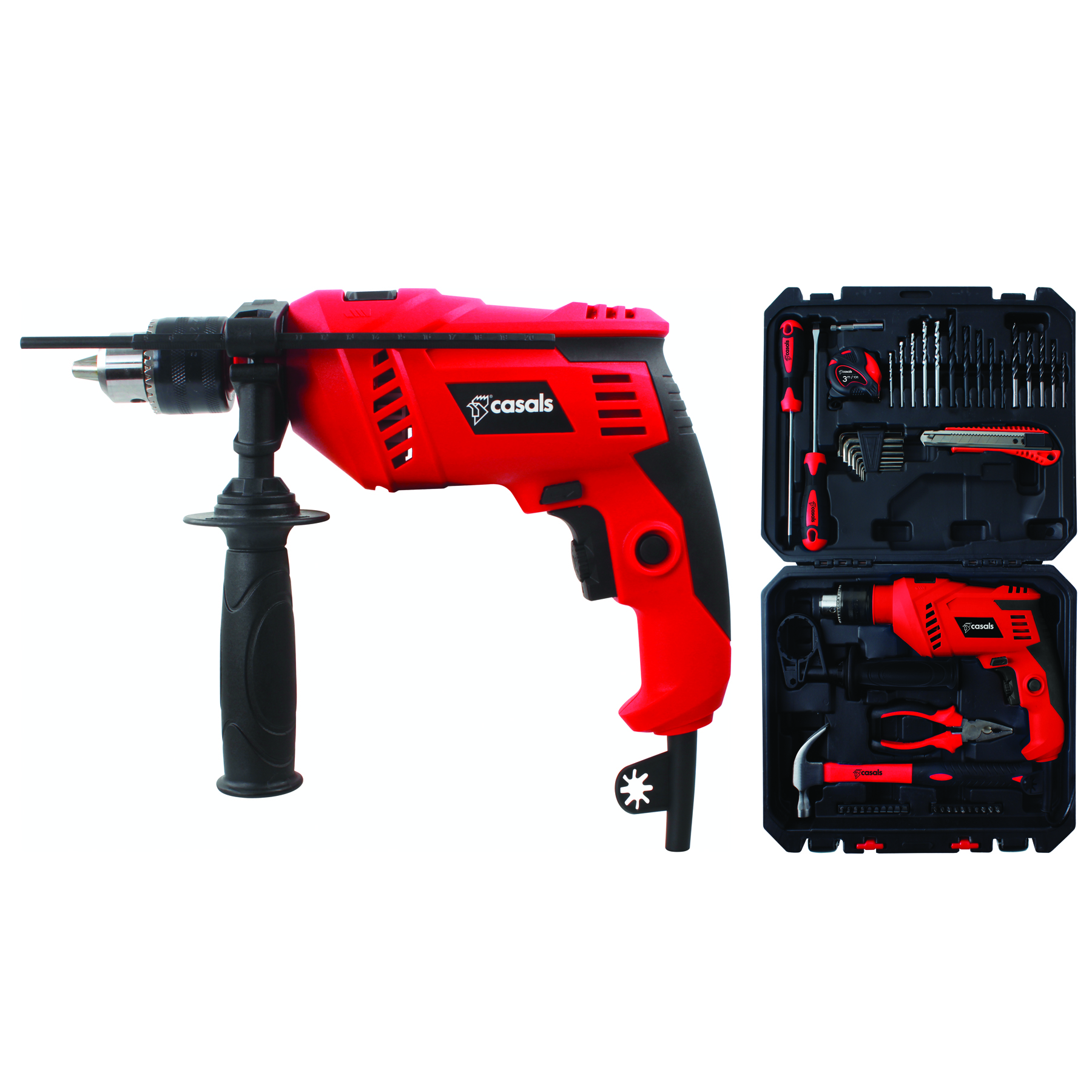 Casals Drill Impact Plastic Red 50pc Accessory 13mm Variable Speed