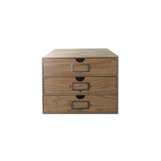 3 Drawer Storage Unit with Labels - Wood