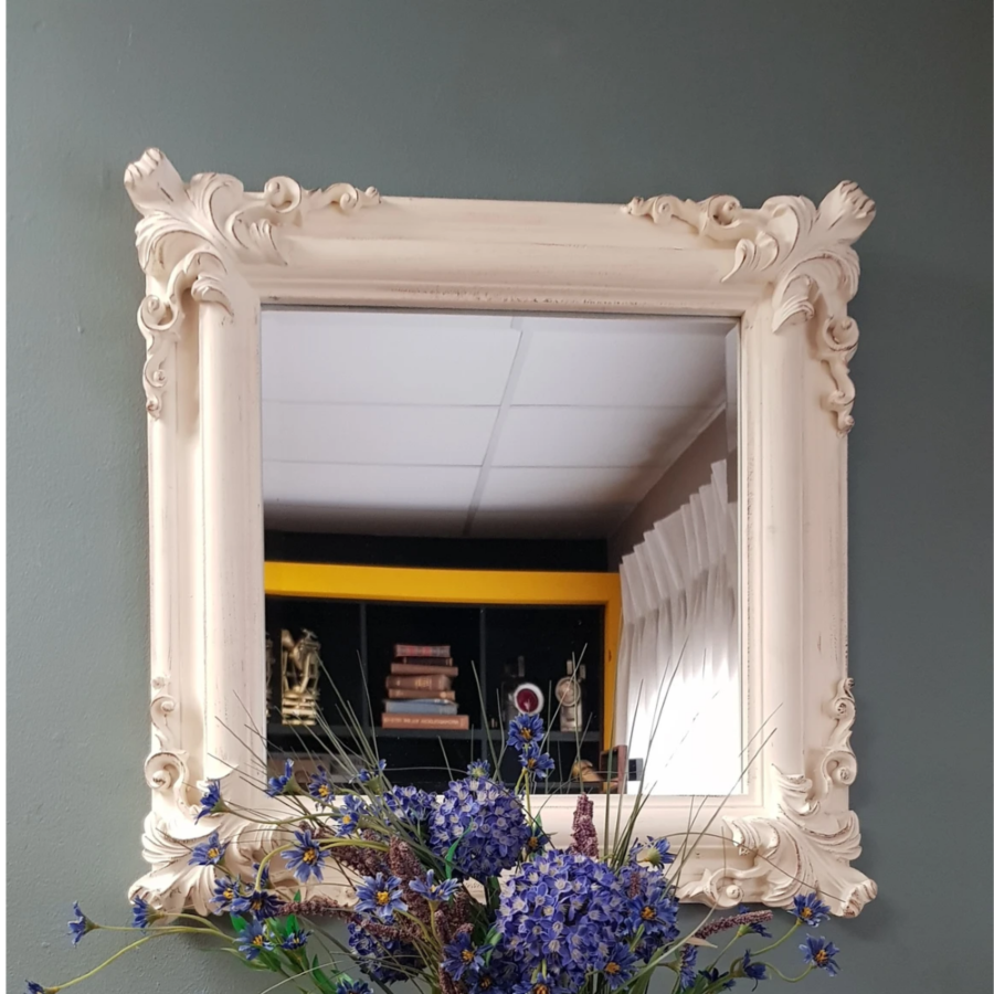 Lifespace Distressed White Square Bevelled Wall Mirror