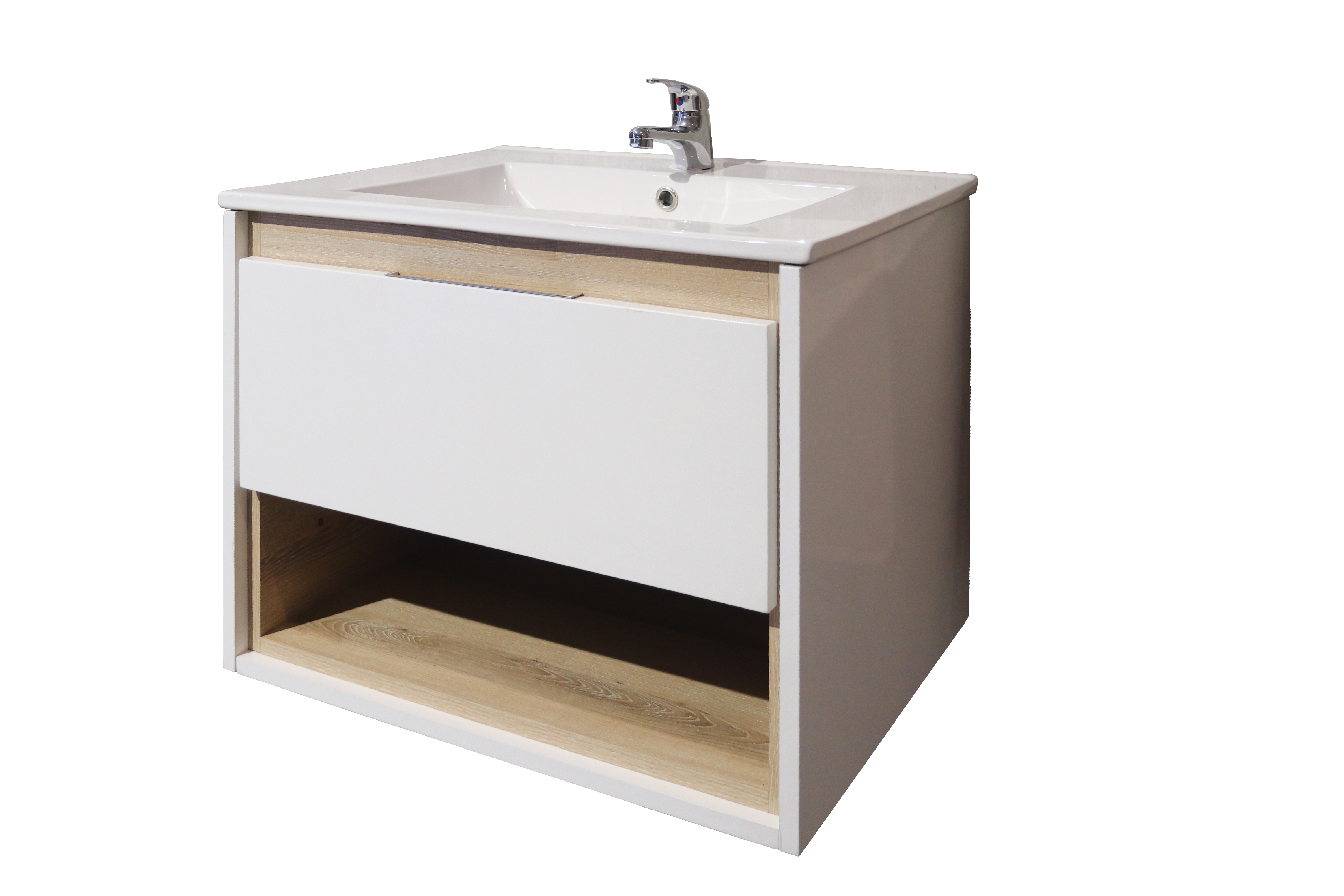 Celeste Floating Bathroom Vanity in white with washed shale accent