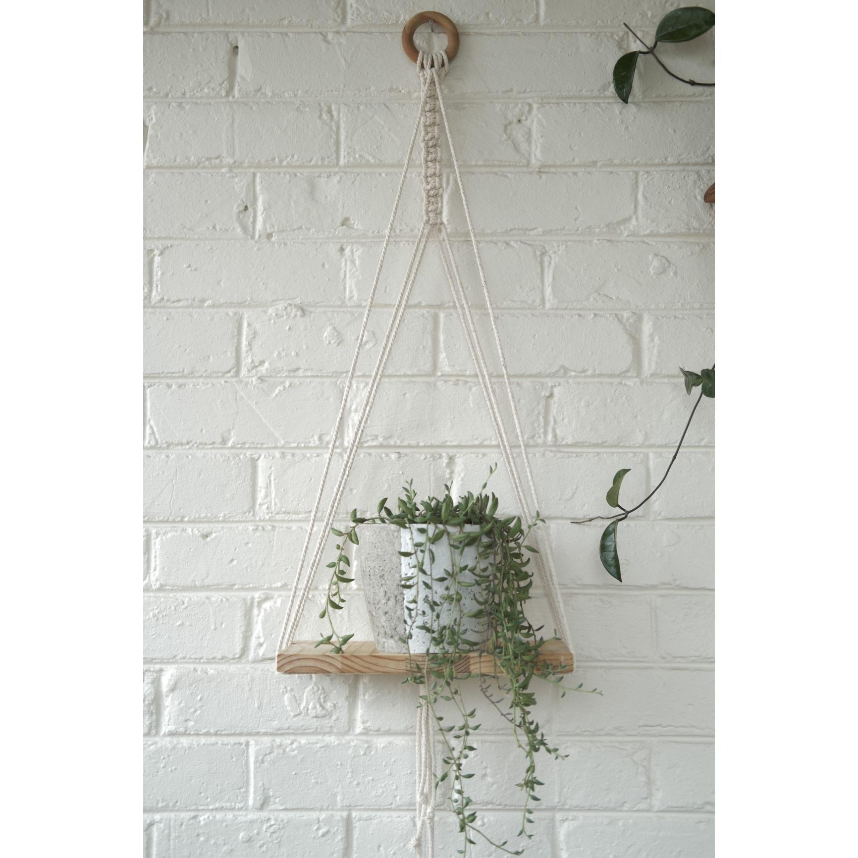 Modern macramé shelf with white plant pot