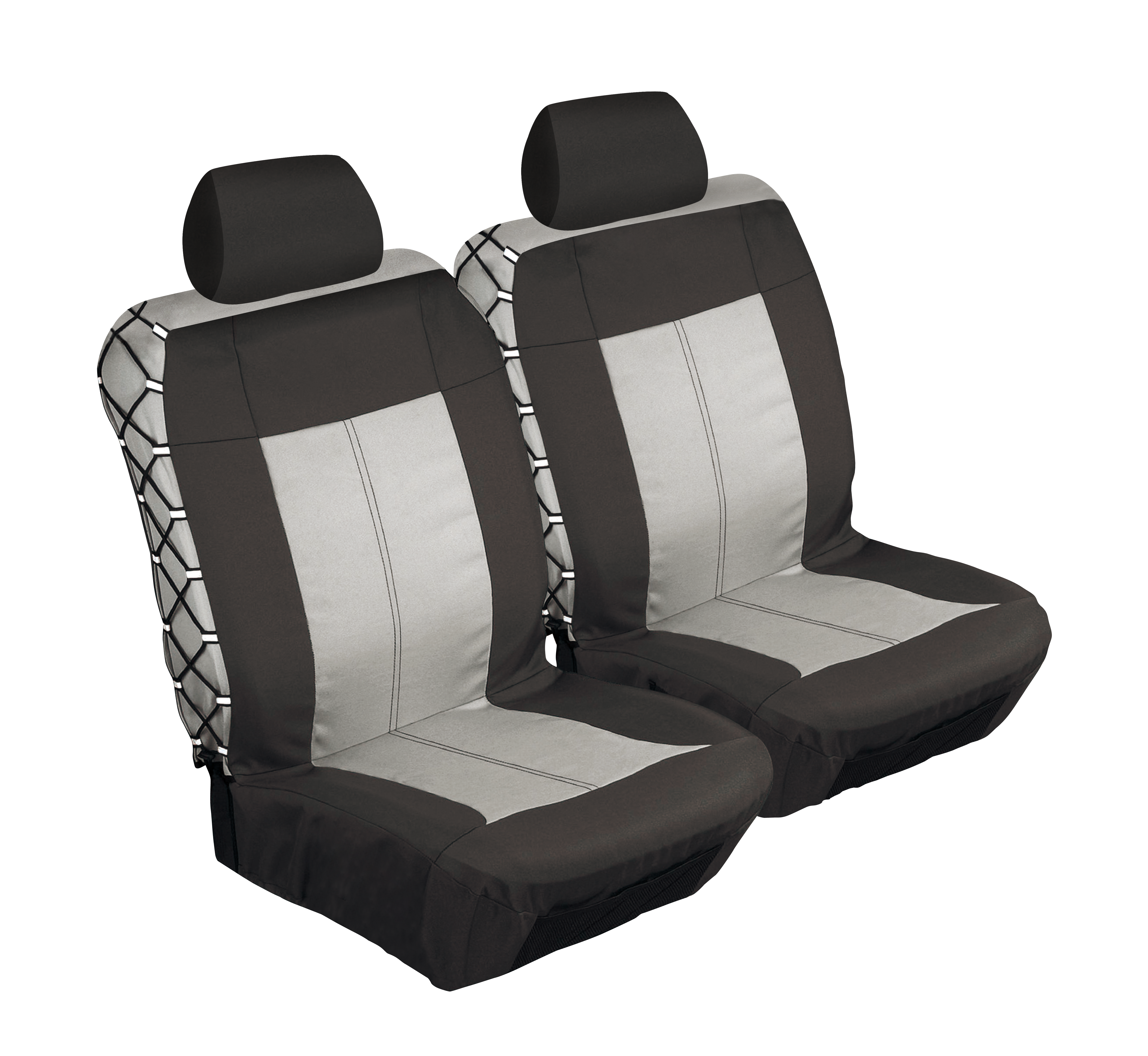 4  Piece Safari Front Seat Cover Set - Black and Grey