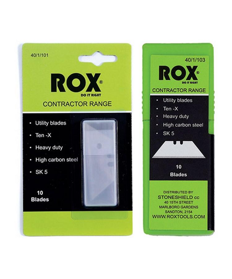 Rox® utility blade - straight - carbon steel SKU5 - 10 units - plastic box