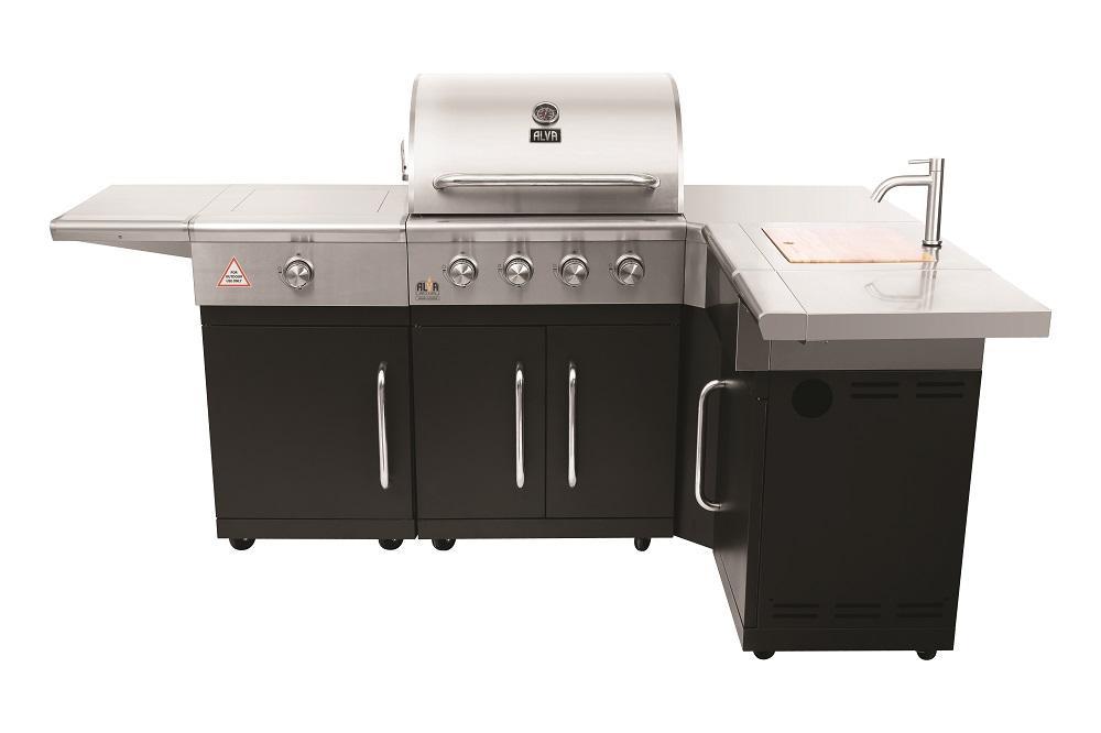Alva - Grand outdoor 4 burner BBQ w/ side burner + sink