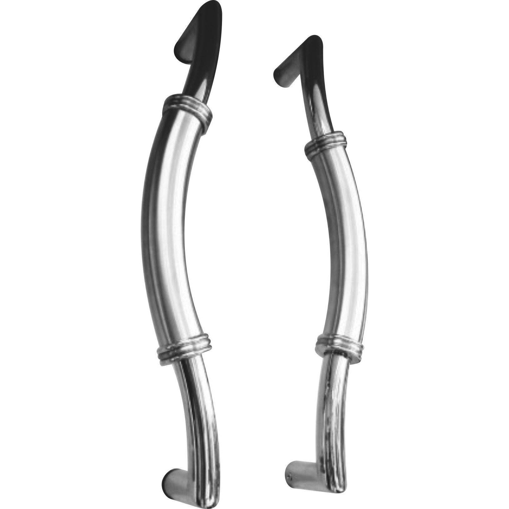 Curved stainless steel pull handle - two-tone
