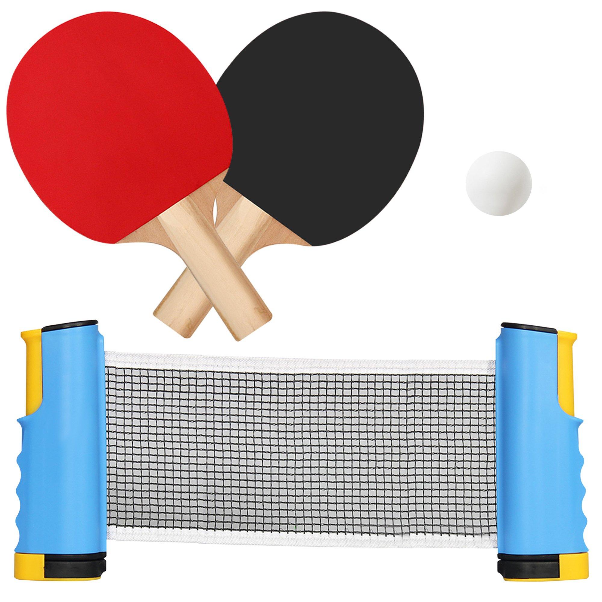 Portable Table Tennis Net and Racket Set