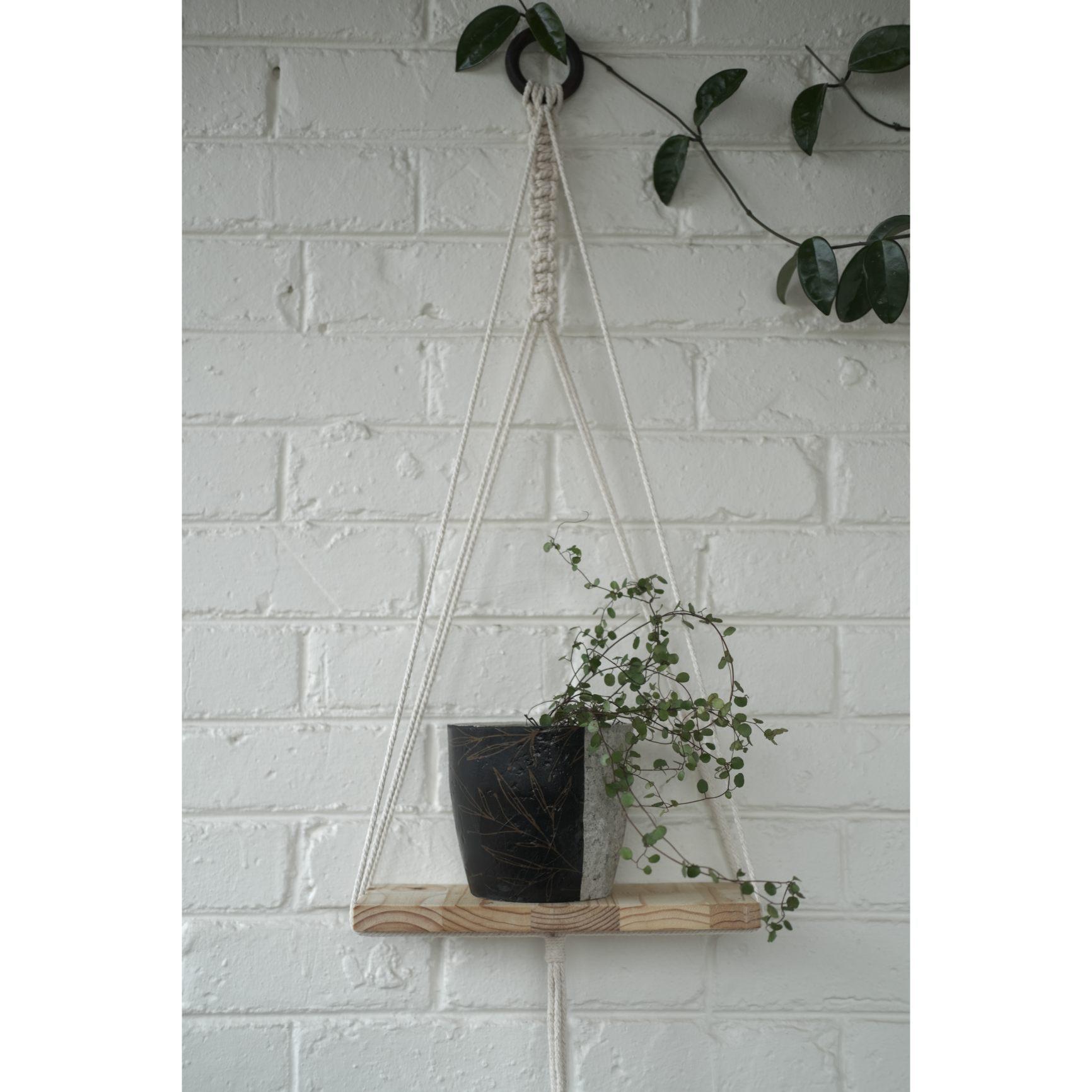 Modern macramé shelf with floral plant pot