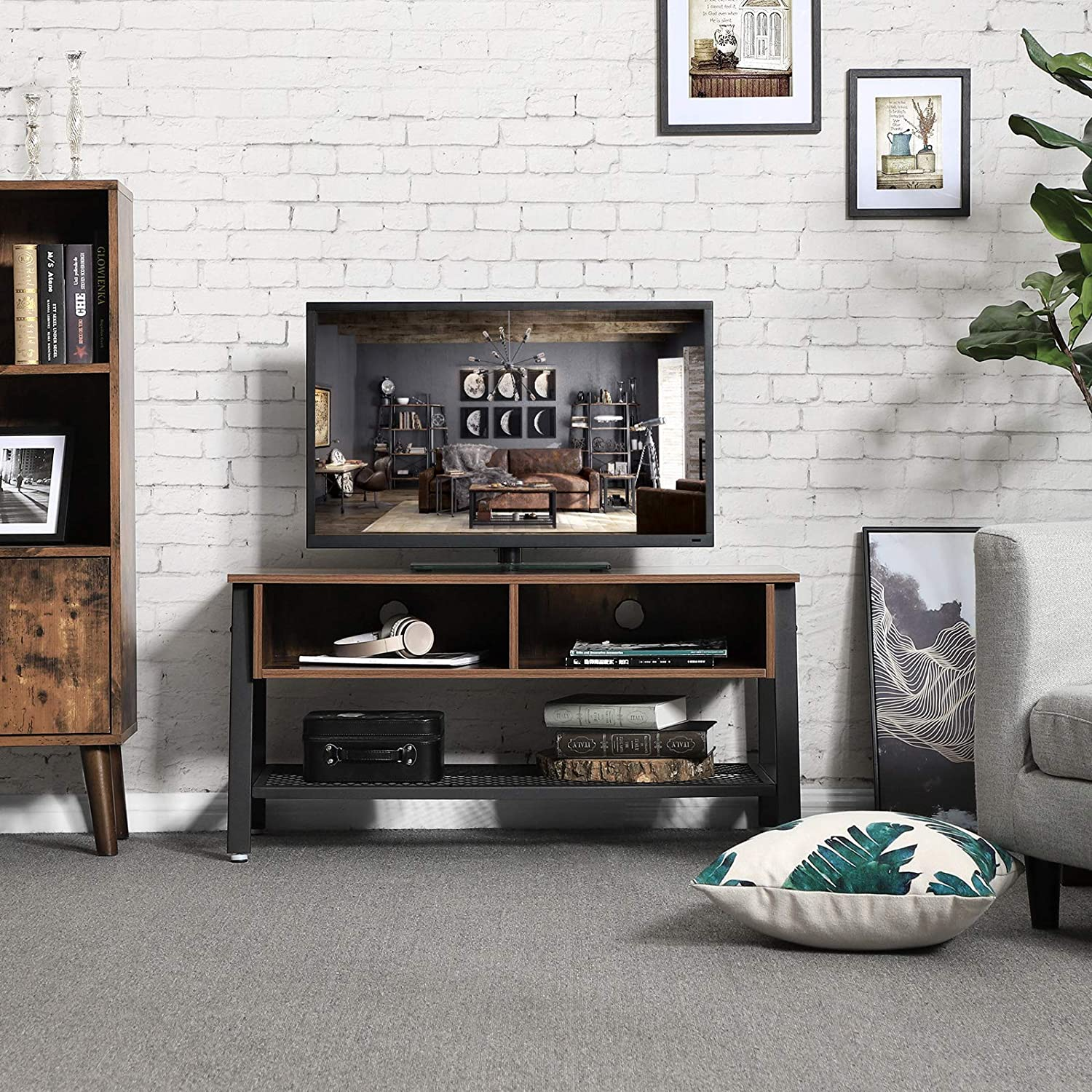Living Room Industrial Style Brown Wood Metal TV Stand Cabinet