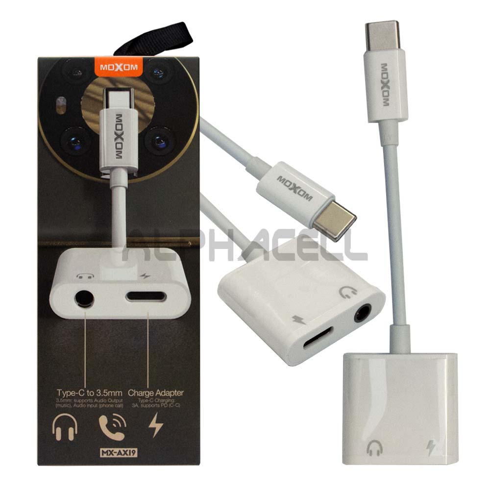 ADAPTOR - Moxom Tyoe C to Charge & 3.5mm AUX AX19