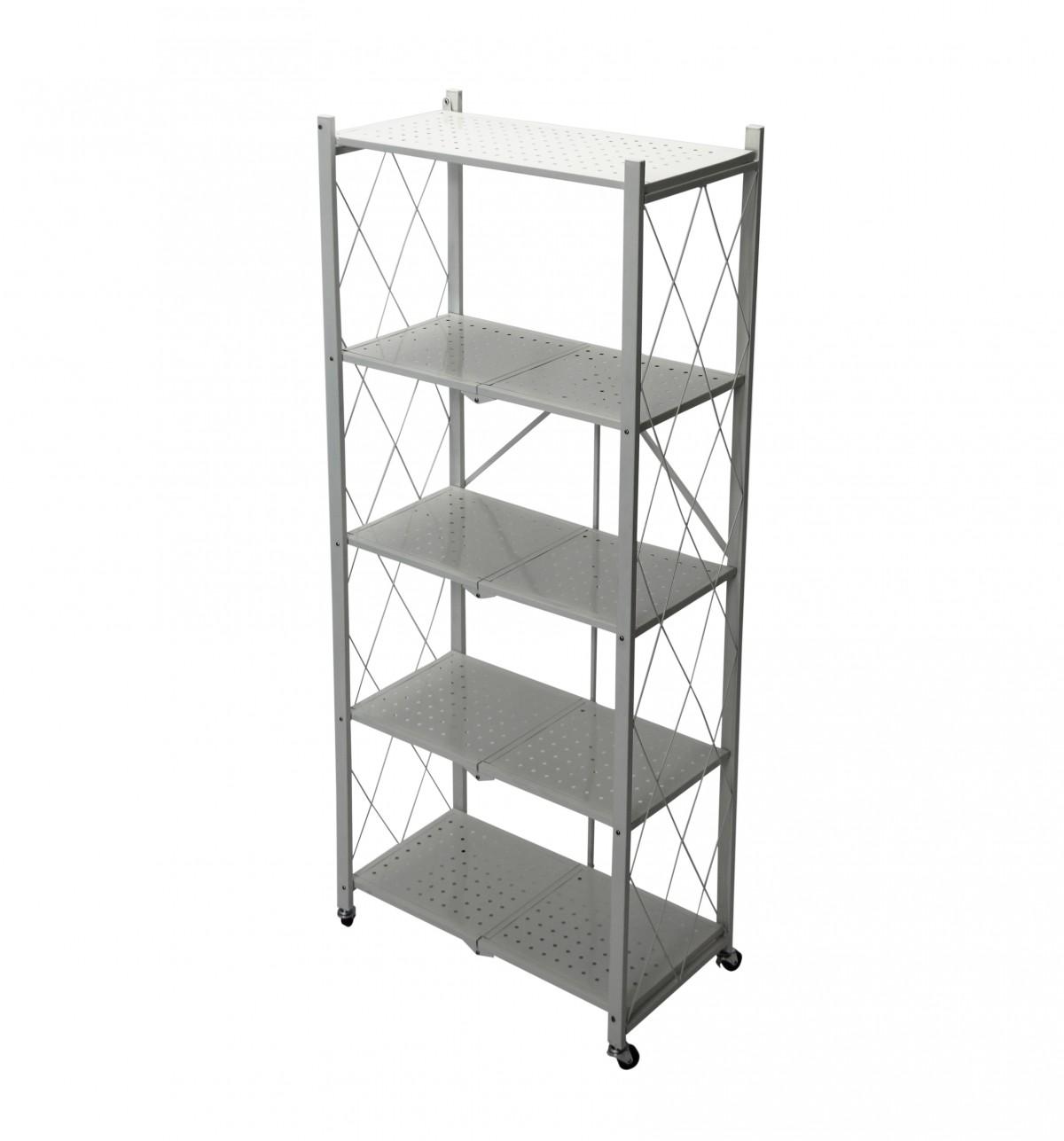 Fine Living Foldable Storage Rack-White Metal 5 La