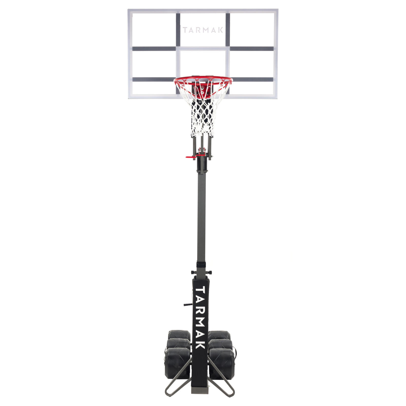 Pro basketball hoop stand black adjusts from 2.4m to 3.05m