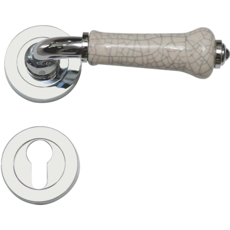 Ceramic lever handle on rose
