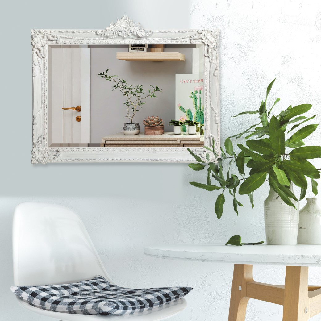 Lifespace Distressed White Bevelled Wall Mirror
