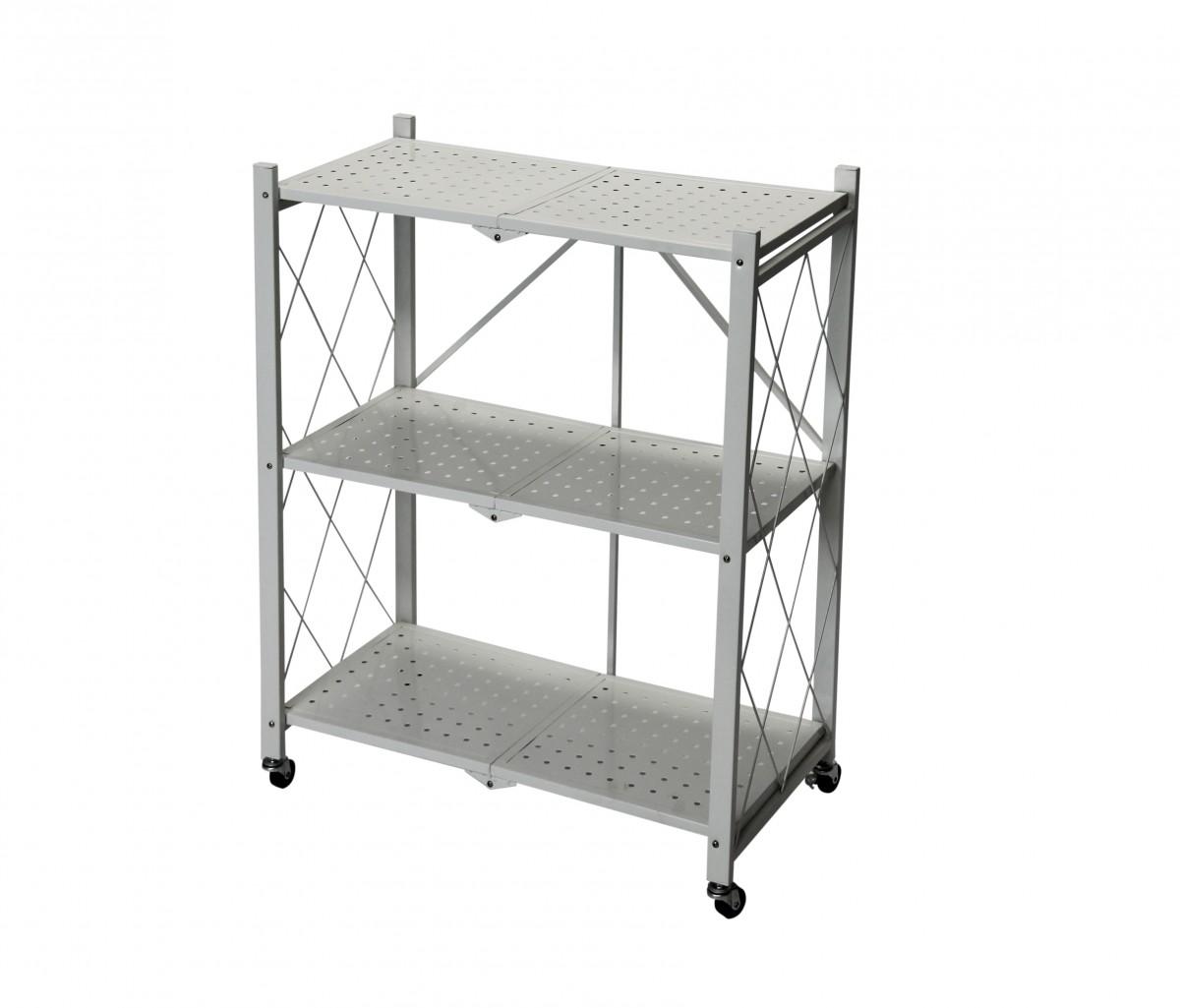 Fine Living Foldable Storage rack-White Metal 3 La
