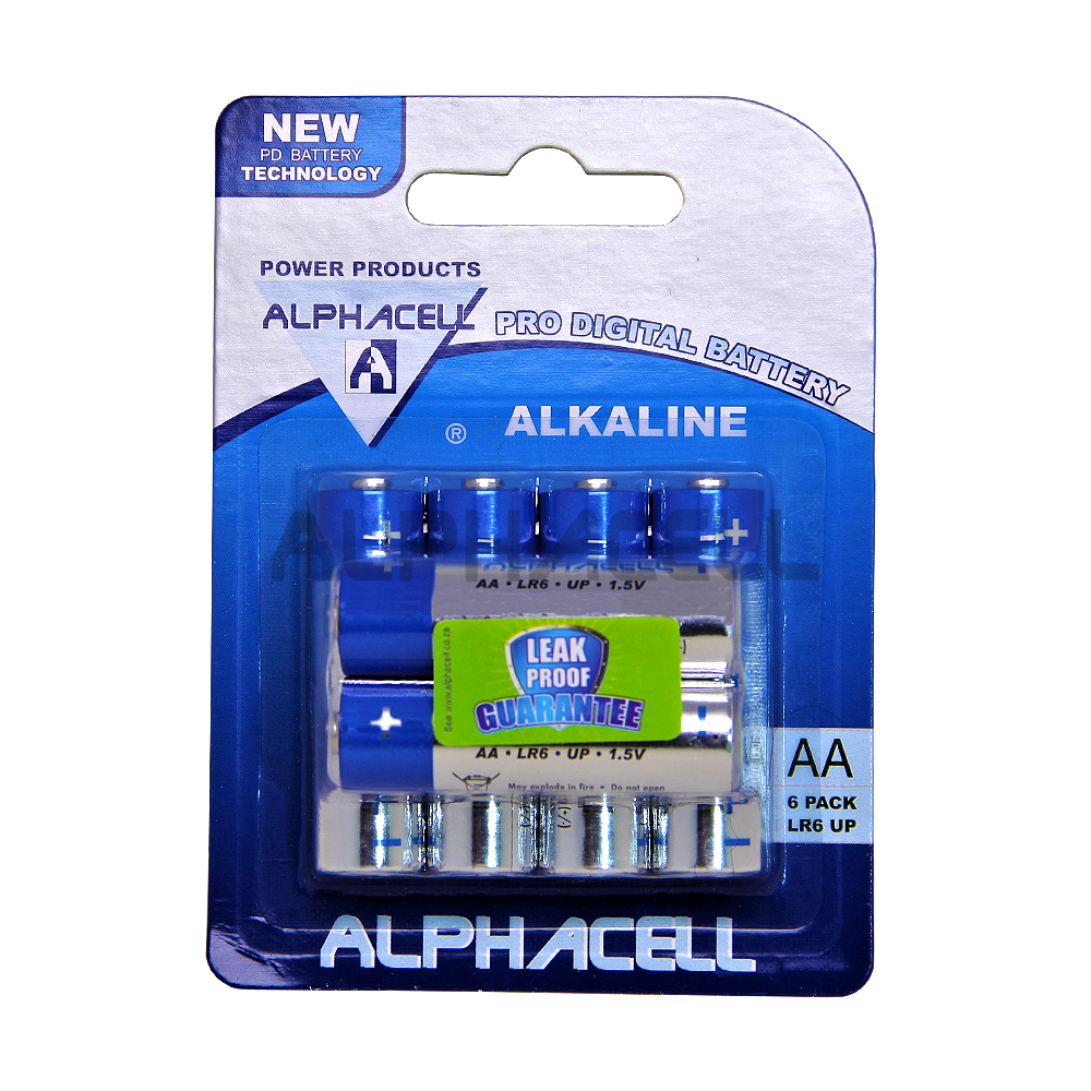 Alkaline ProDig AA LR6 6pc Alphacell CARDED