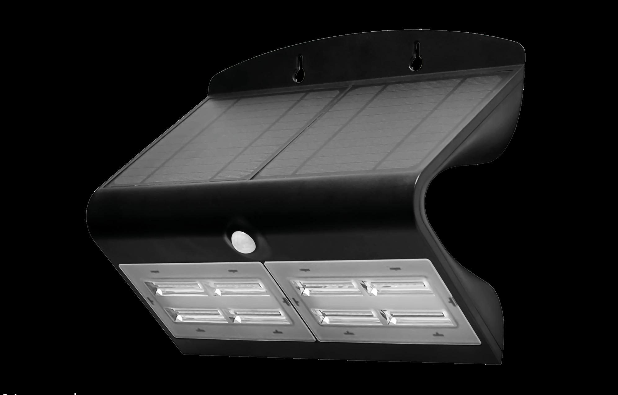 Luceco - Solar Guardian PIR Wall Floodlight Black IP44 6.8W 750Lm 4000K Std