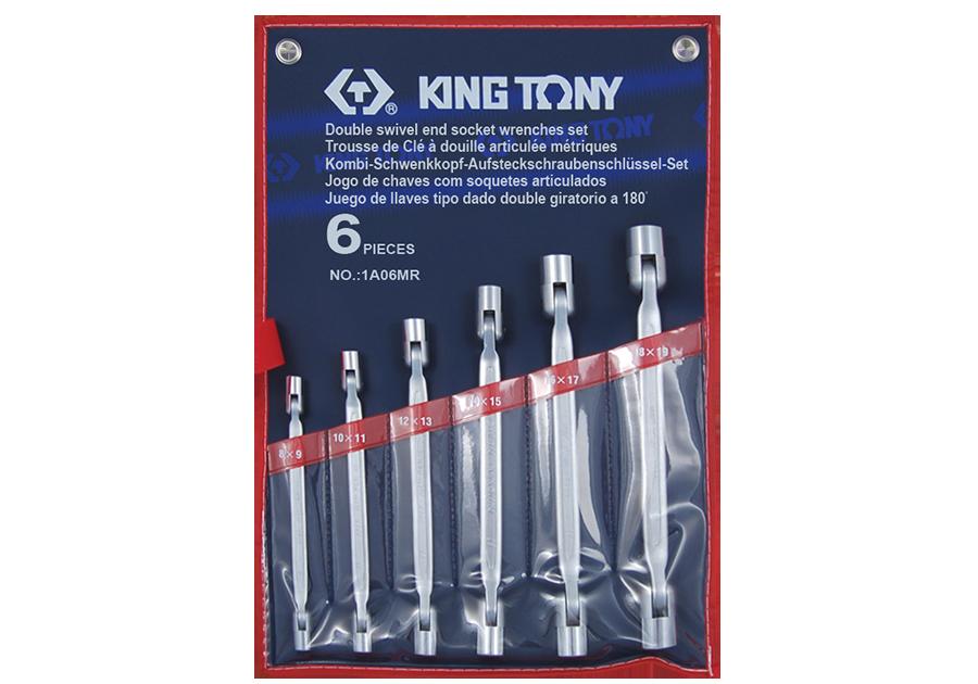 KING TONY -SPANNER SET 6PC DOUBLE SIWIVEL SOCKET 8-19MM