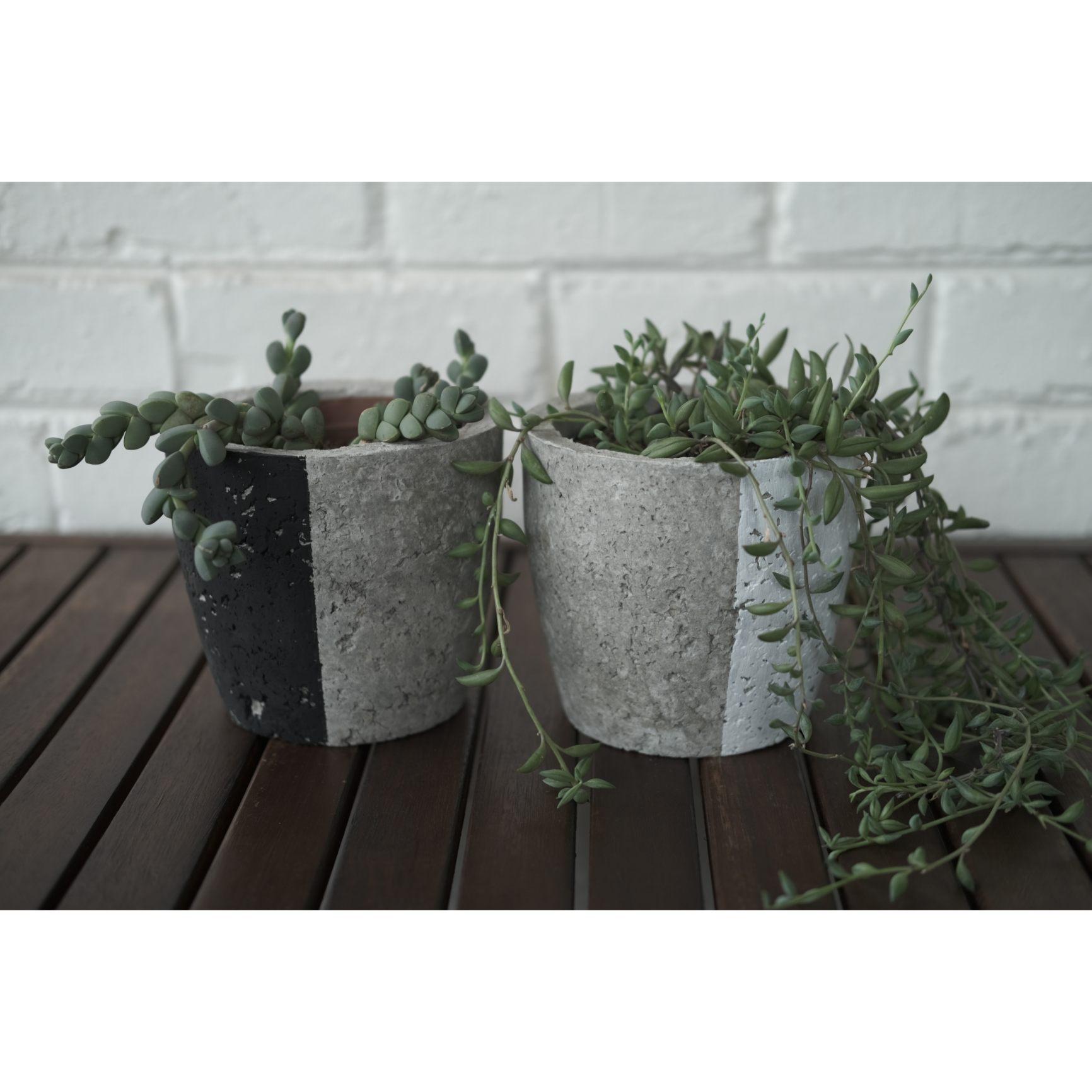 Plant pot set - black and white