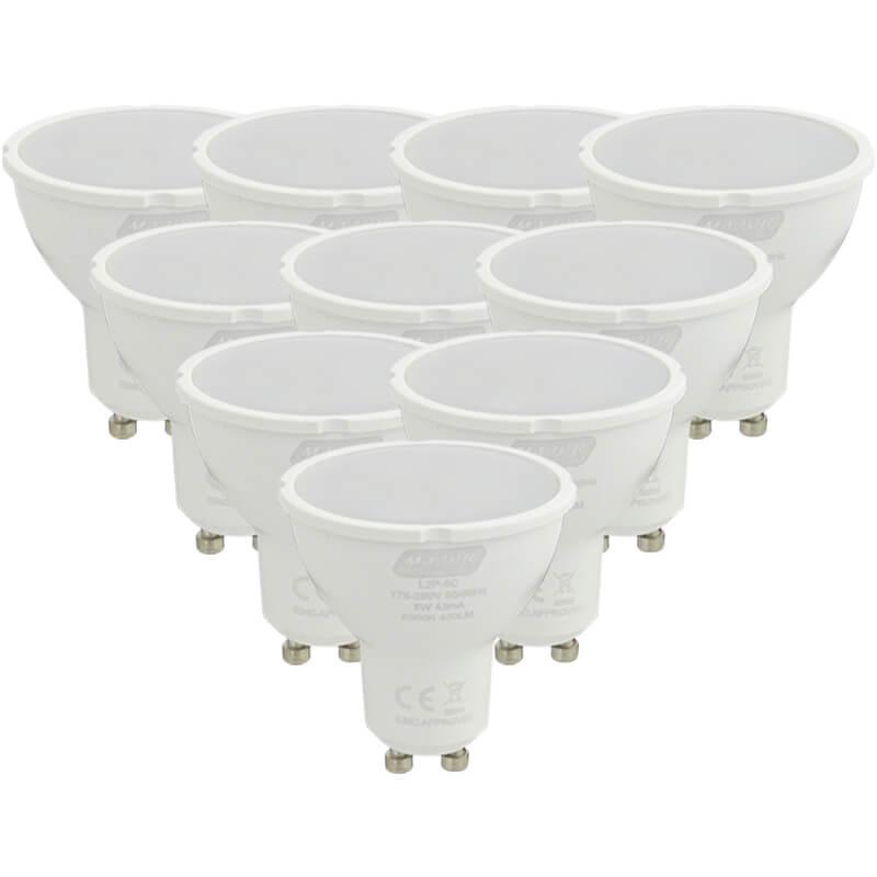 5W LED GU10 Pack of 10 Warm White Lamps (L2P-5W) - Major Tech