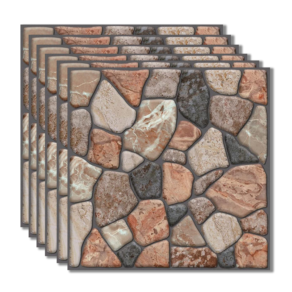 6Pcs Waterproof PVC 3D Self Adhesive Tile Wall Panels - Cobblestone