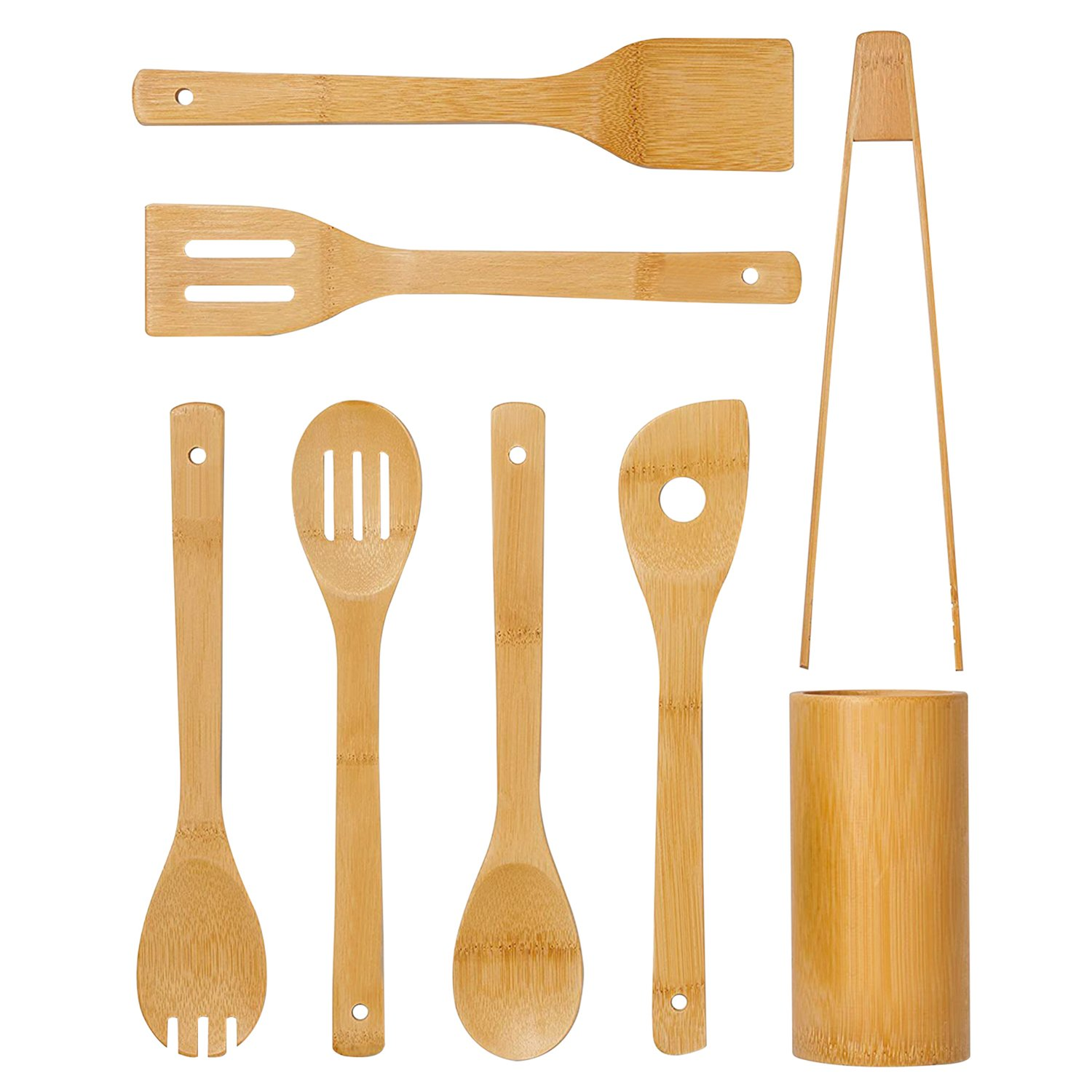 Bamboo  Cooking Utensils With Holder 8Pcs Set
