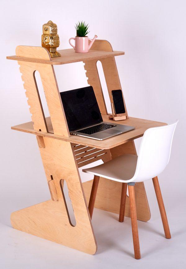 Sitting Standing Workstation Birch Compact
