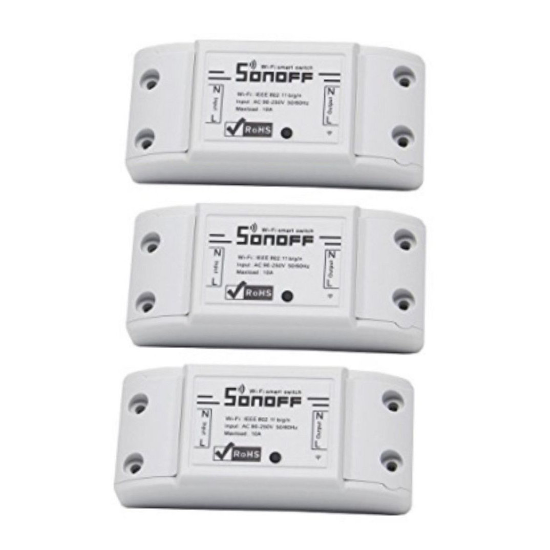 3 Pack Sonoff WIFI Smart Switch (compatible with Google Home/Alexa)