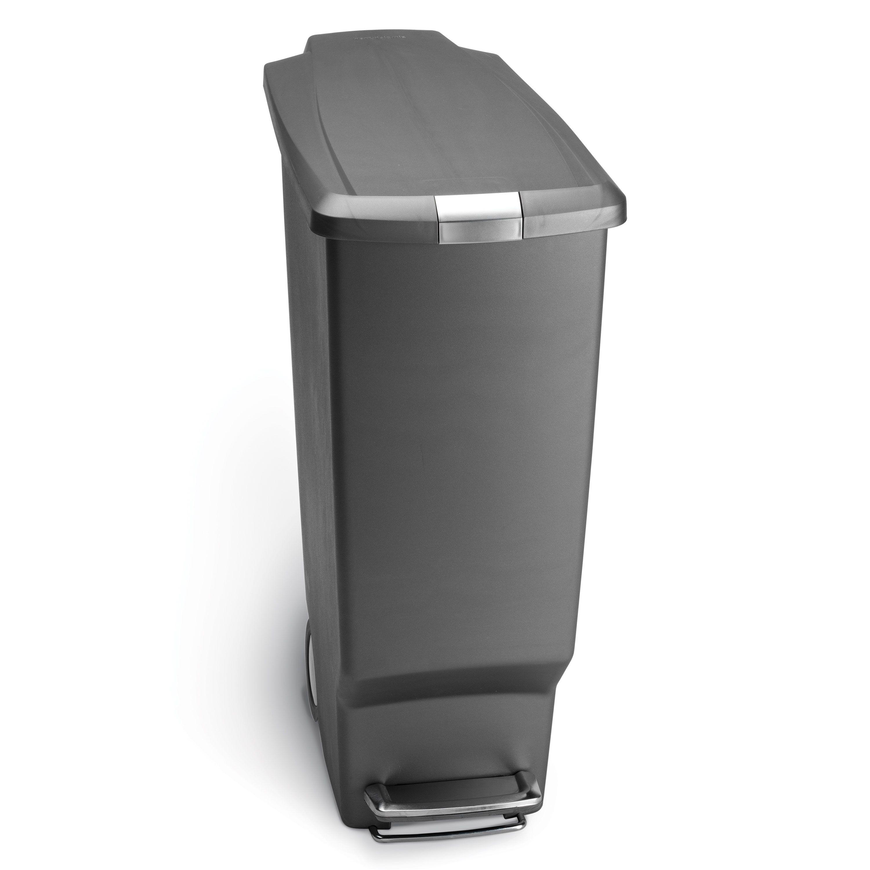 Simple Human- 40L Slim Plastic Pedal Bin W/ Steel Pedal - Grey