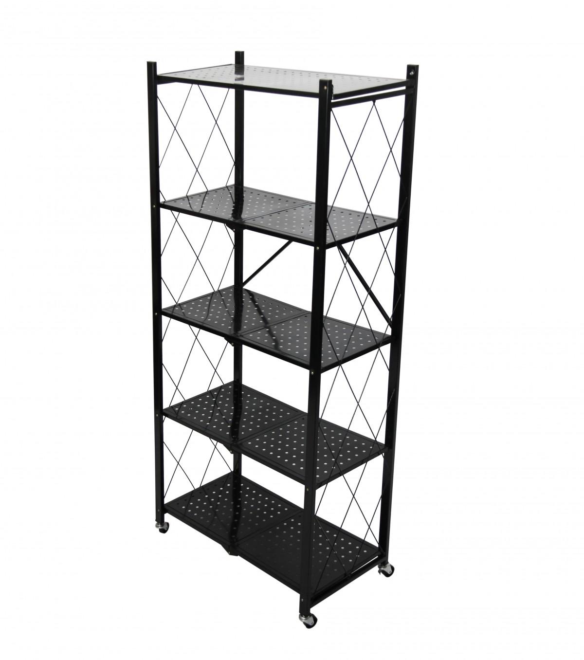 Fine Living Foldable Storage Rack-Black Metal 5 La