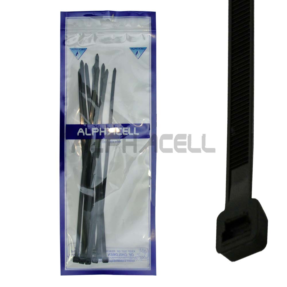 CABLE TIE - 400mmx7.2mm BLACK - 10 pack