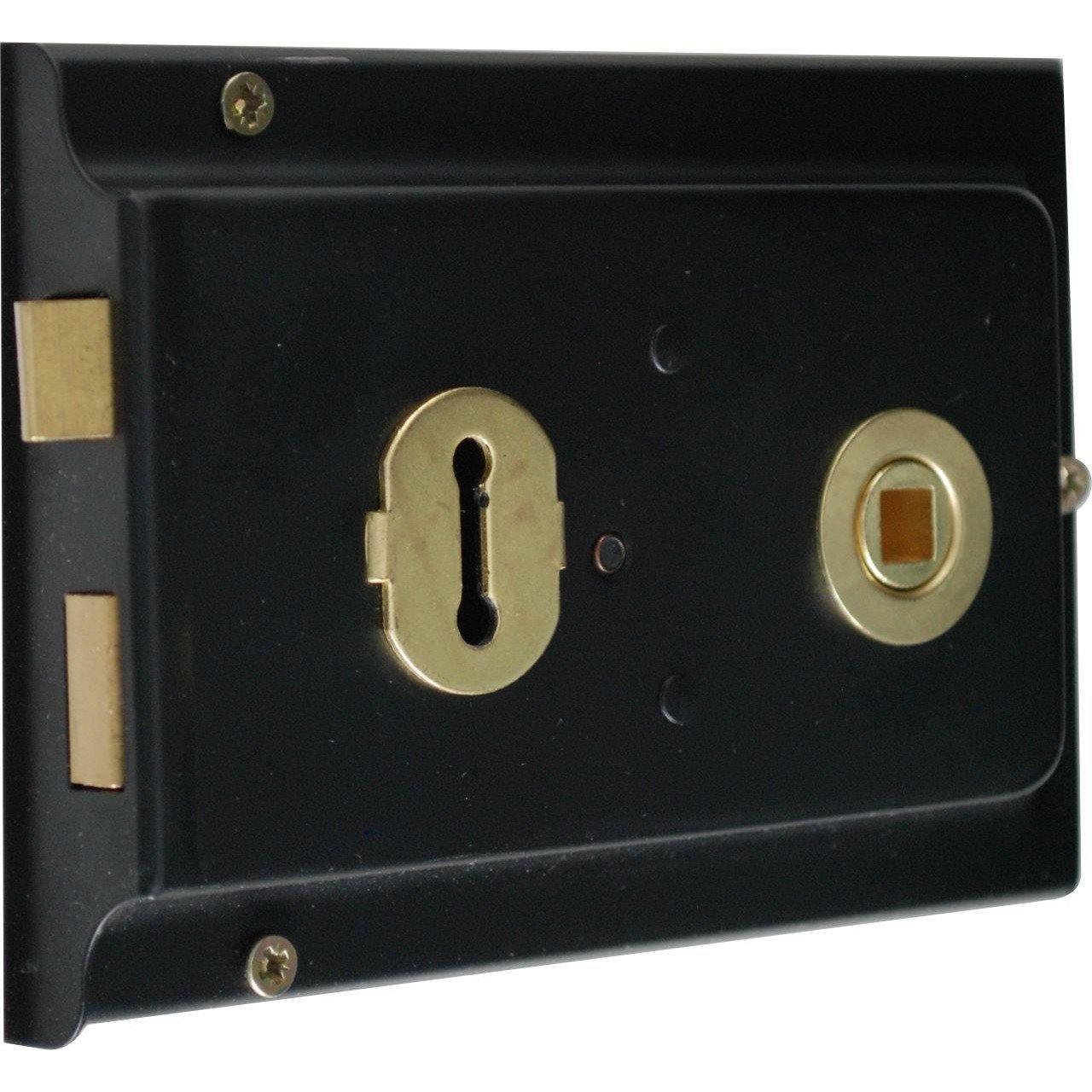 Rim Lock - Black - 6X4cm