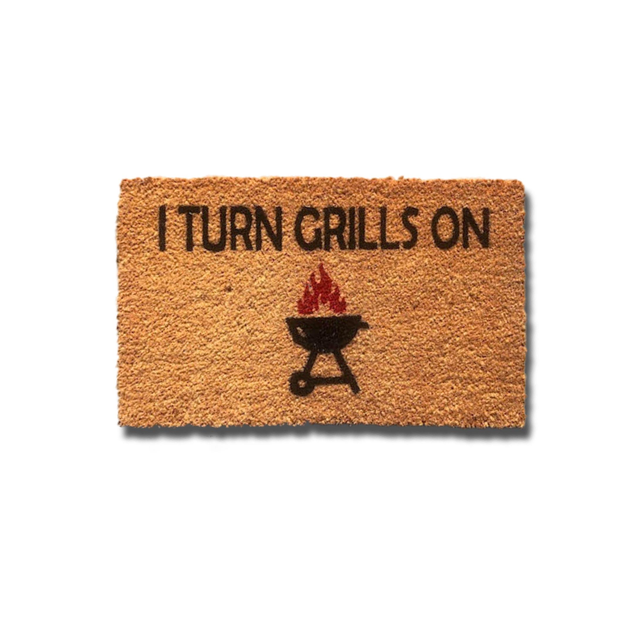 Matnifique Coir Doormat - Turn Grills On Design 700 x 400 x 14mm