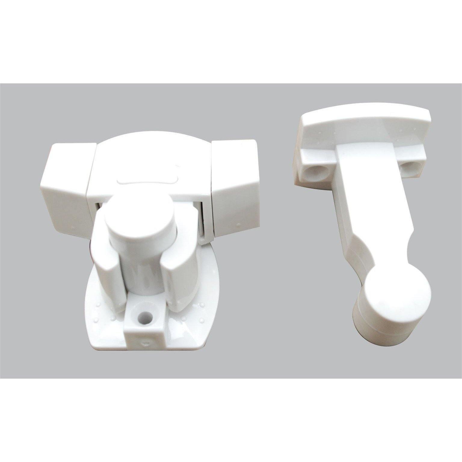 White plastic door stop - floor & wall mount