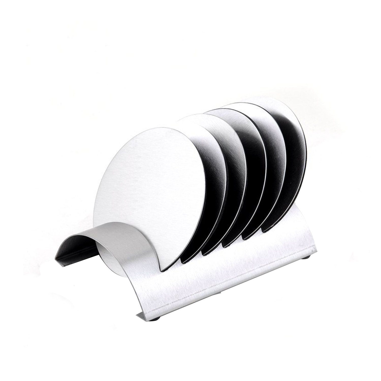 6Pcs Stainless Steel Coasters with Holder