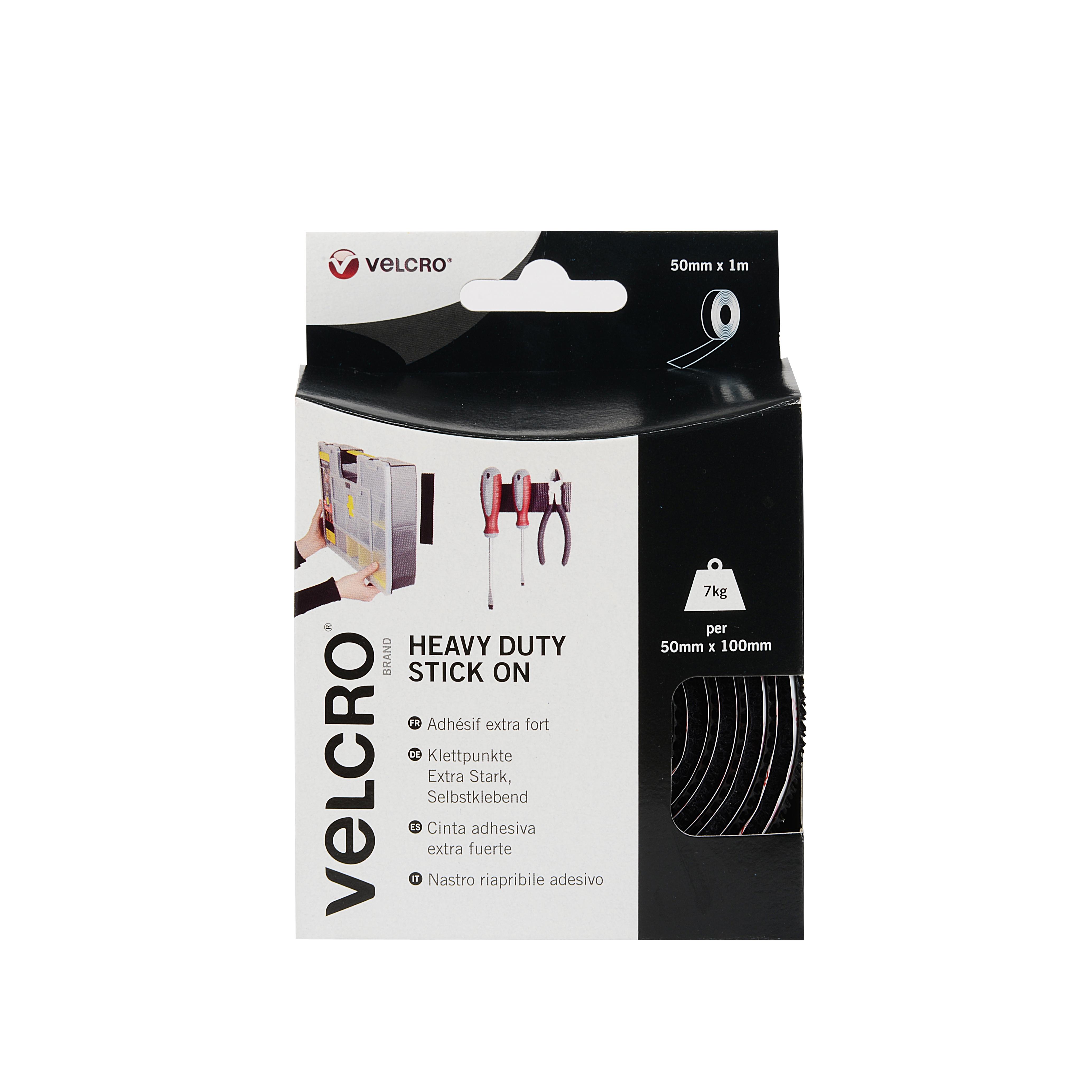 VELCRO® Brand Heavy Duty Stick On Tape 50mm x 1m black