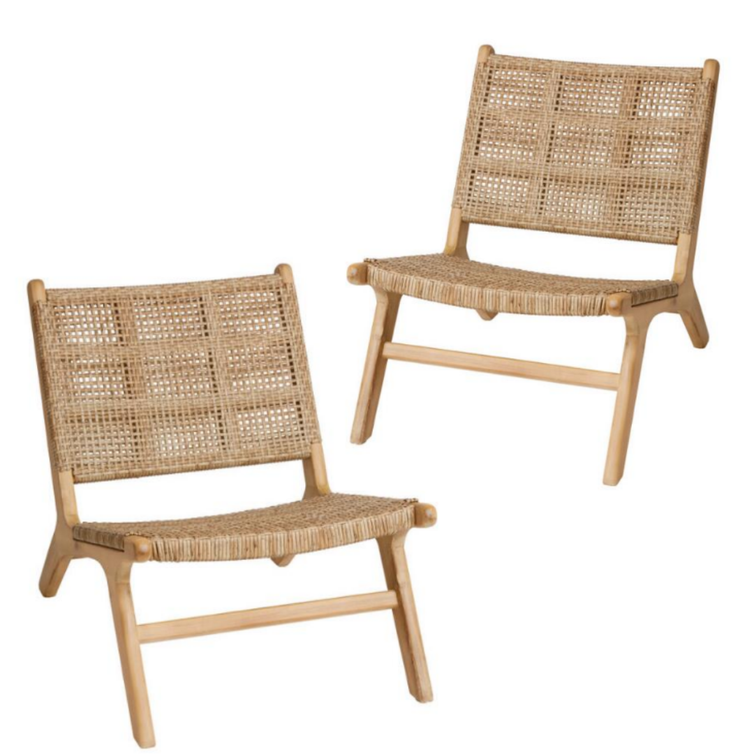 MON exteriors set of 2 Delhi Chairs: Basket Weave