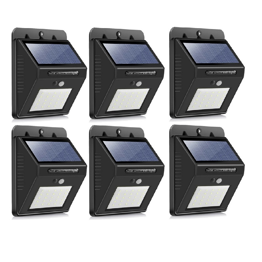 SQI. 25 Led Solar Powered LED Wall Light with Dim mode, PIR sensor+Night sensor Pack 6