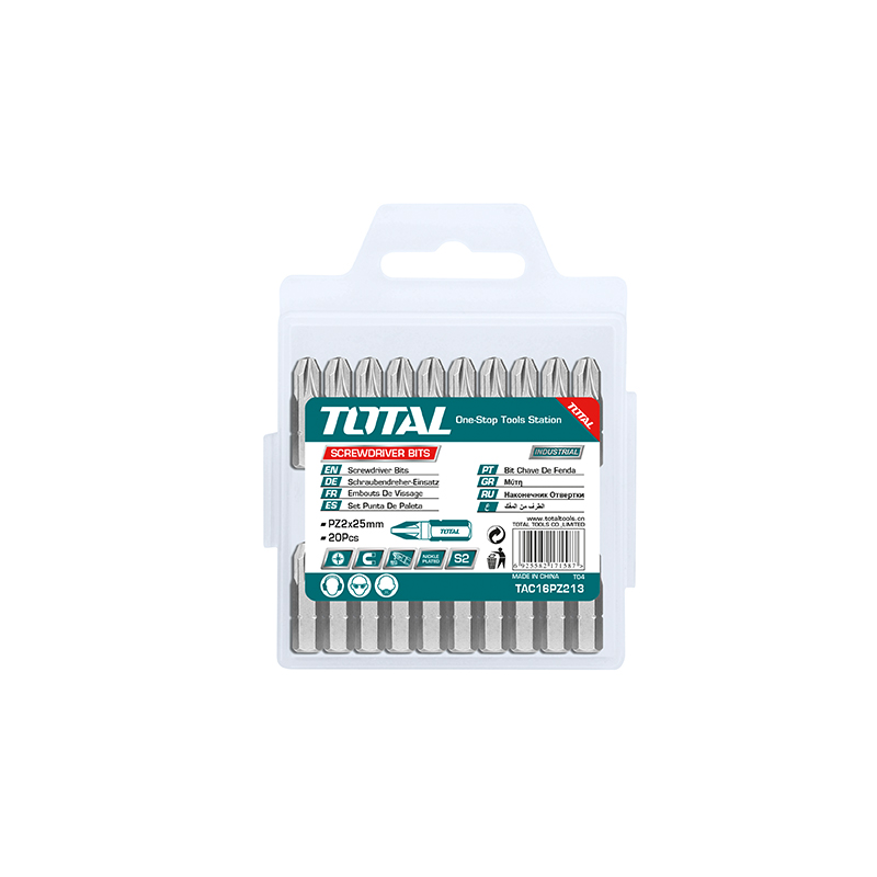 Total Tools Screwdriver Bit PZ2,25mm 20Pcs, S2 Industrial Steel