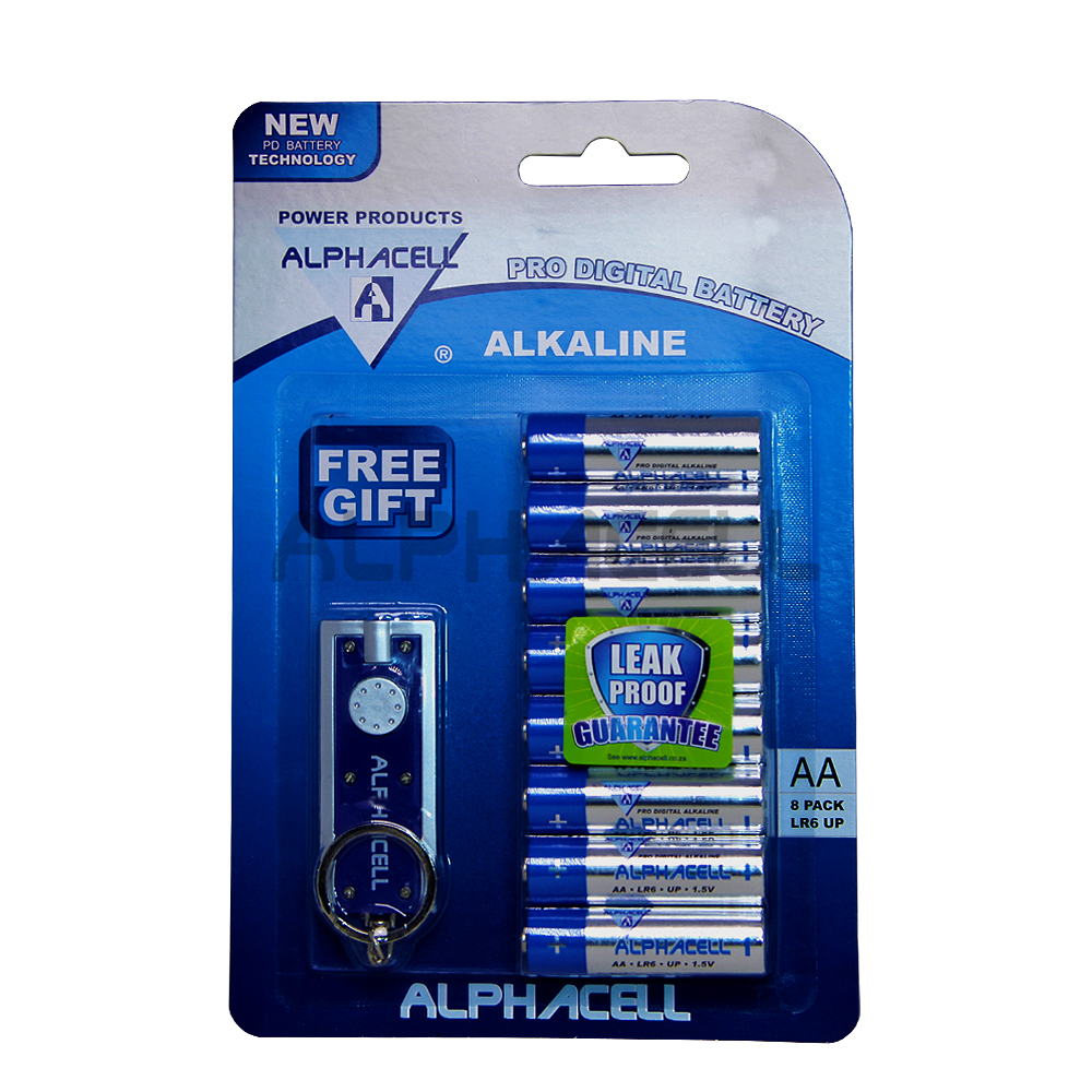 Alkaline ProDig AA LR6 8pc + Free Gift Alphacell