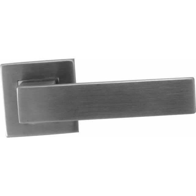 Square stainless steel lever handle on rose