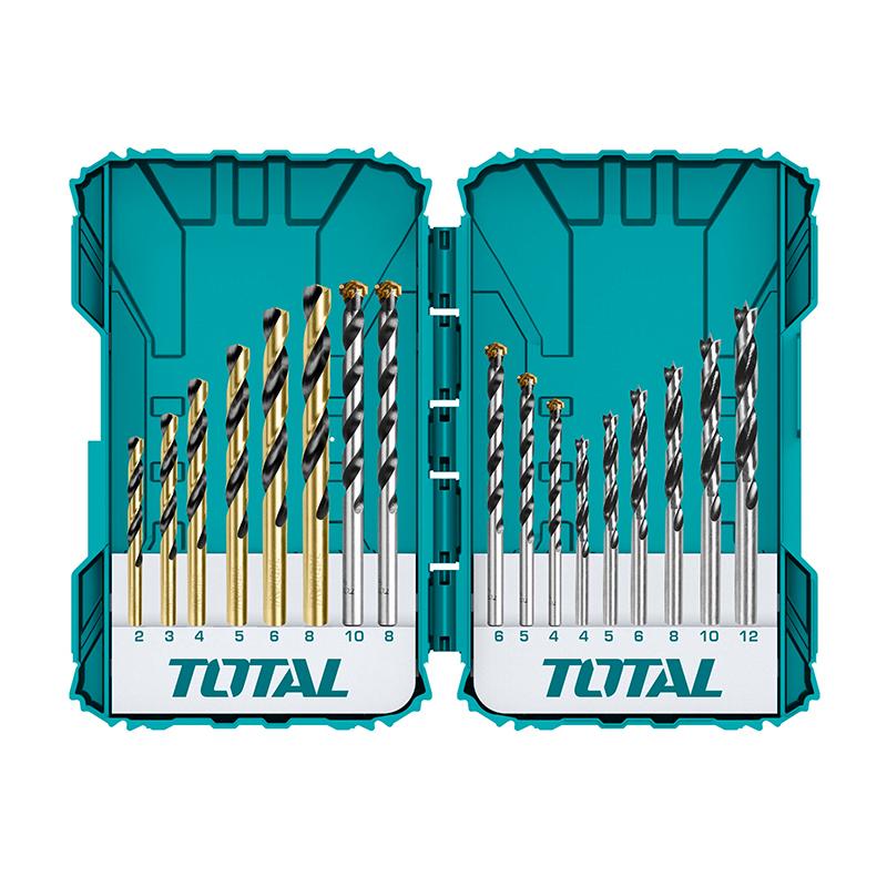 Total Tools 16PCS Metal, Concrete And Wood Drill bits set
