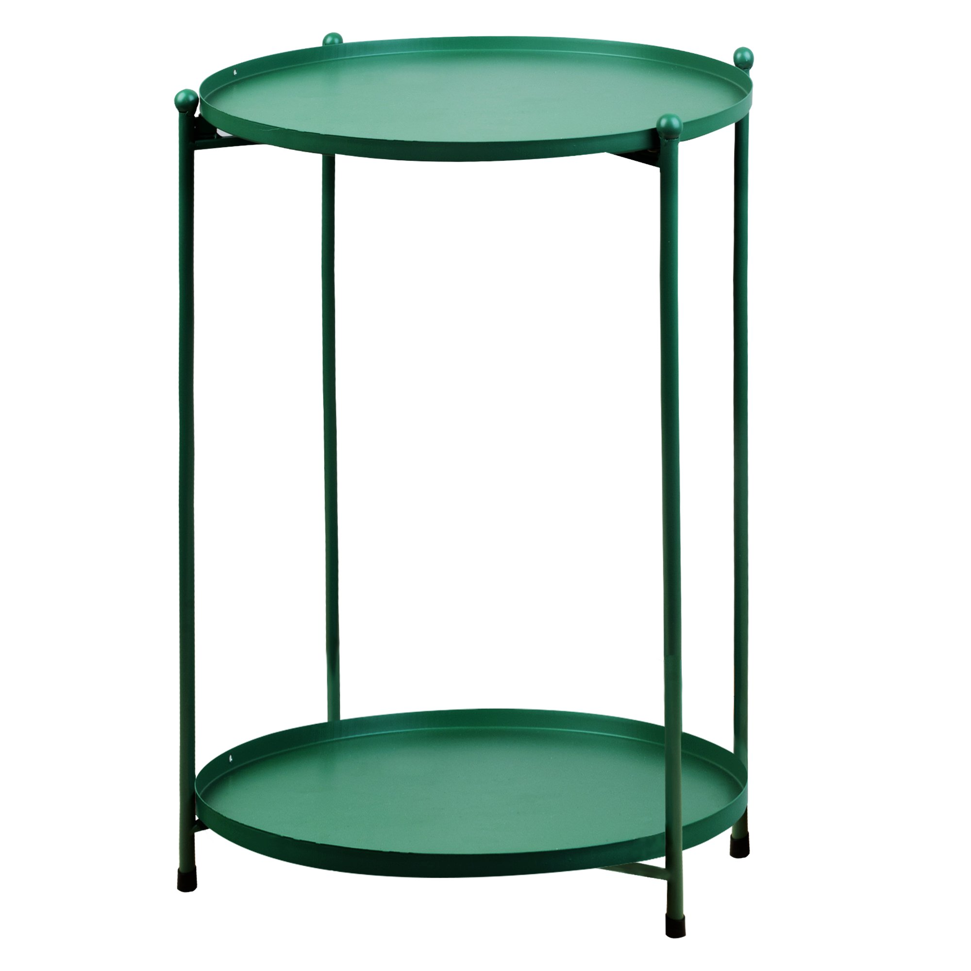 2-Tier Metal Round Side Table with Removable Tray