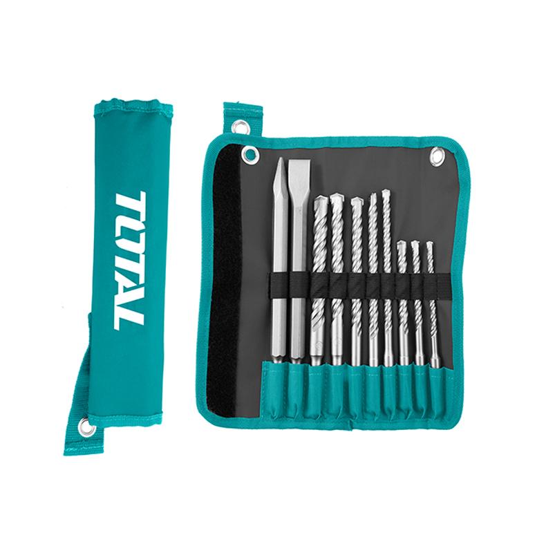 Total Tools Hammer Drill Bits And Chisels Set 10Pcs