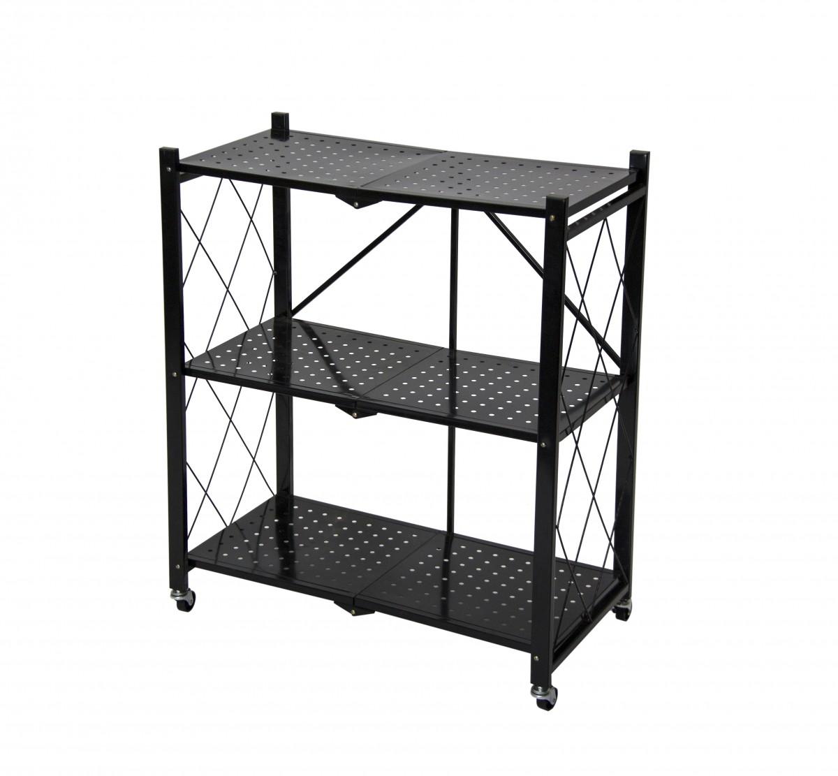 Fine Living Foldable Storage Rack-Black Metal 3 La