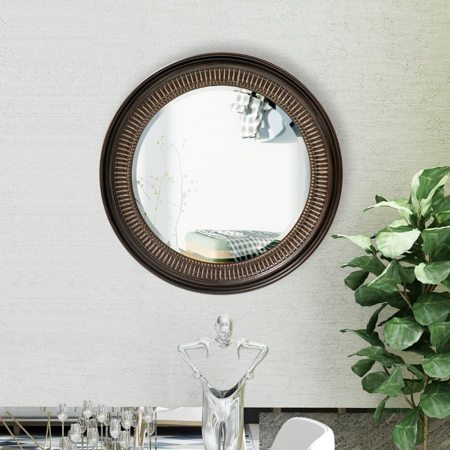 Lifespace Contemporary Dark-Coffee Round Bevelled Wall Mirror