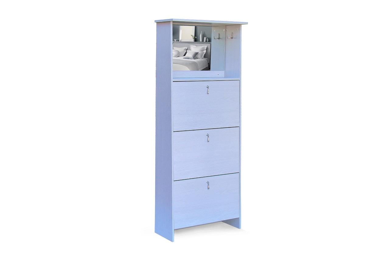 Shoe Cabinet - 3 Tier Mirror Vanity - Maple