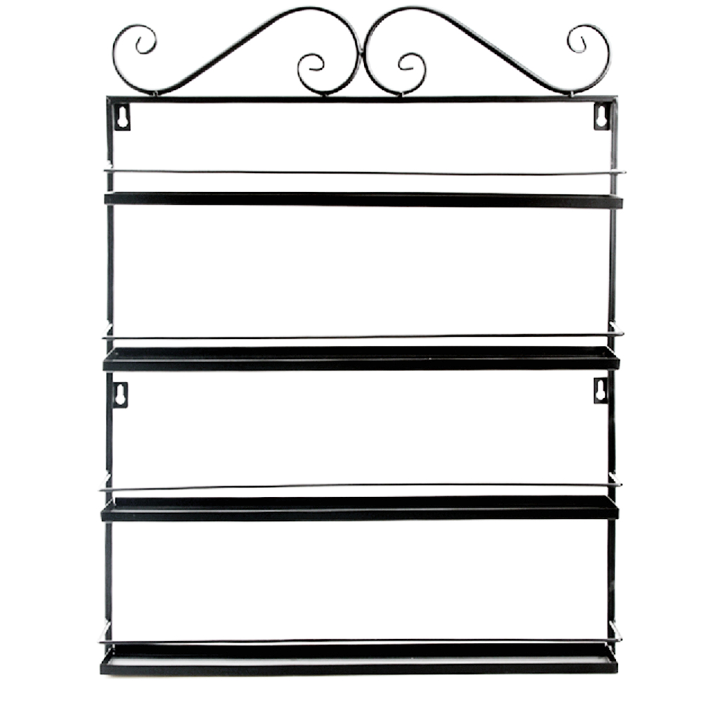 4-Tier Wall Mounted Iron Wire Herb Spice Rack