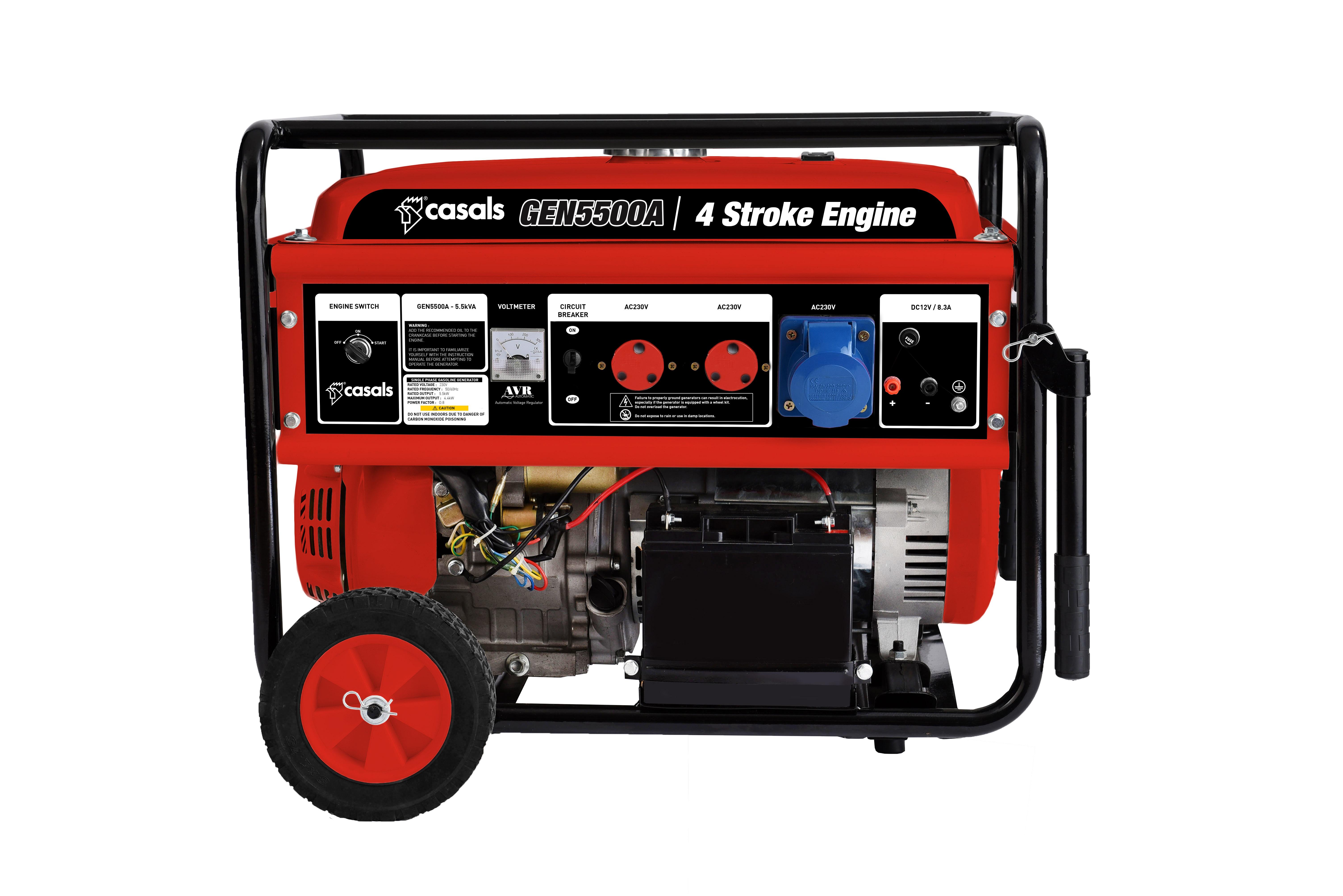 Generator Electric Key & Recoil Start Steel Red