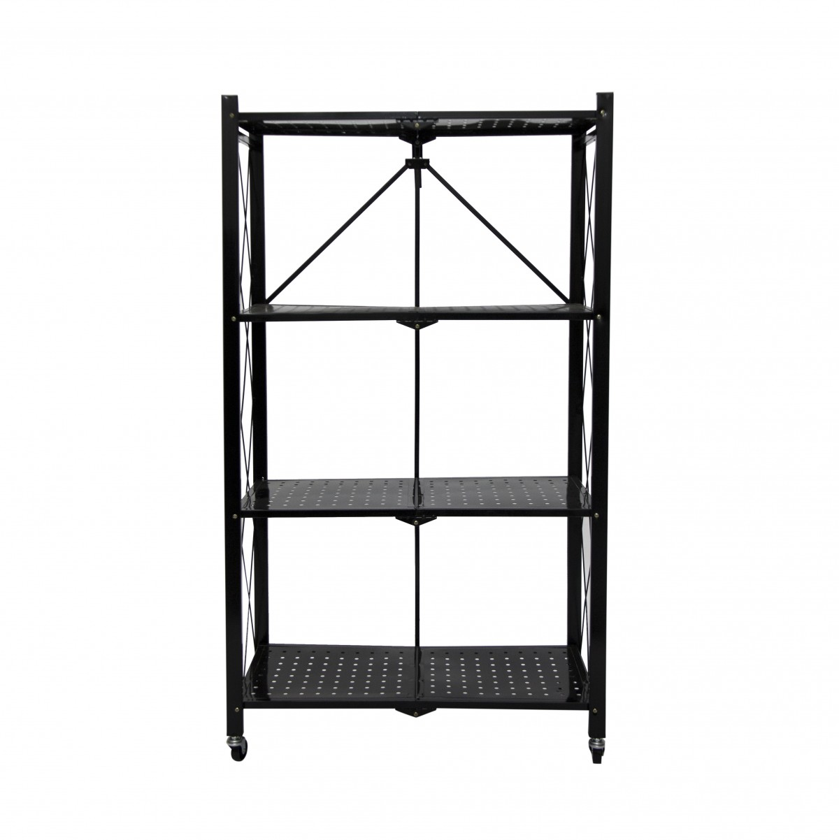 Fine Living Foldable Storage Rack-Black Metal 4 La