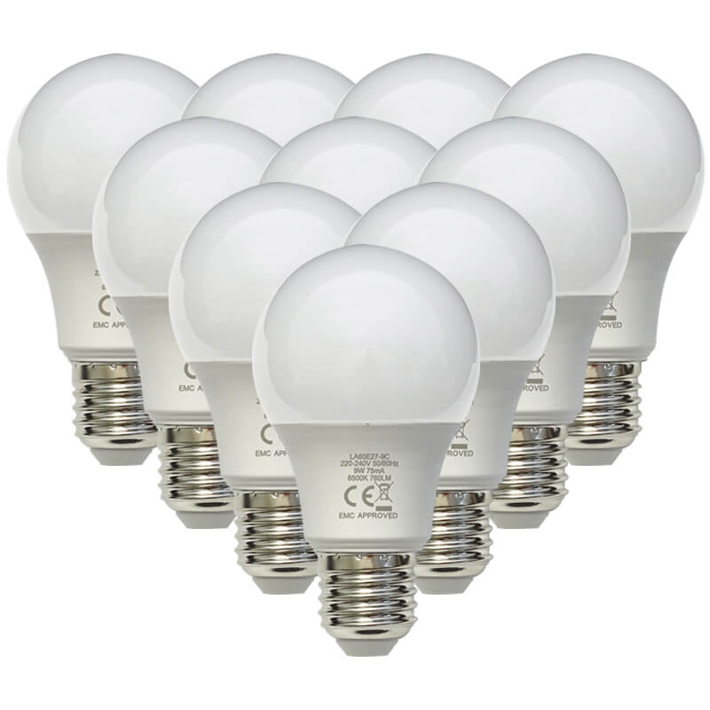 9W LED E27 Pack of 10 Cool White Lamps (LA60E27-9C) - Major Tech